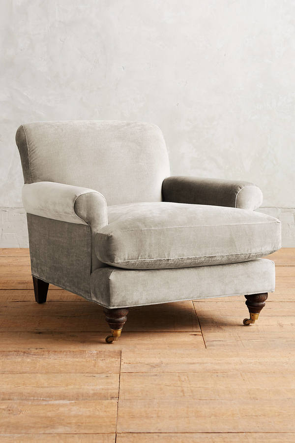Anthropologie Anthropologie Slub Velvet Willoughby Ottoman, Hickory