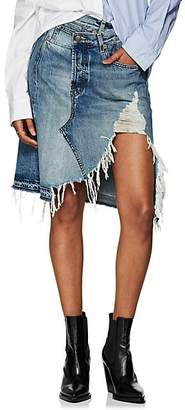 R 13 Women's Norbury Distressed Denim Crossover Skirt - Blue