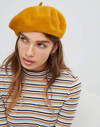 Monki beret in mustard