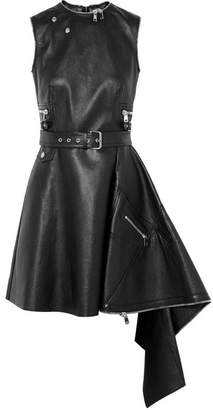 Alexander McQueen Asymmetric Textured-leather Mini Dress - Black