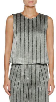 Emporio Armani Jewel-Neck Strappy-Back Striped Satin Shell Top