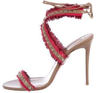 Aquazzura Fringe Ankle Strap Sandals
