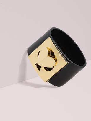 Kate Spade heritage spade leather heart twistlock statement bracelet
