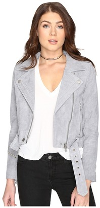 Blank NYC Grey Suede Moto Jacket in Cloud Grey $198 thestylecure.com