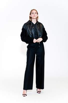 Yigal Azrouel Texture Leather Bomber Jacket