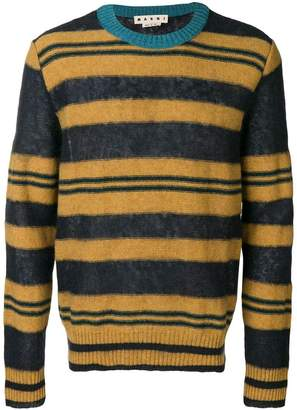 Marni Heavy contrast-collar striped jumper