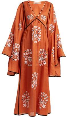 Pigeon Vita Kin - Spanish Embroidered Linen Dress - Womens - Orange