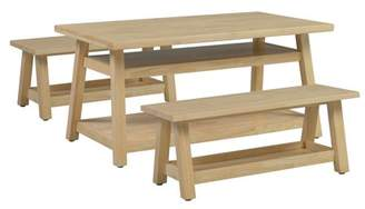 N. ECR4Kids Sit n' Stash Rectangular Table and Two Benches