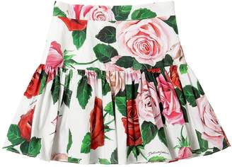 Dolce & Gabbana Floral Print Cotton Poplin Skirt