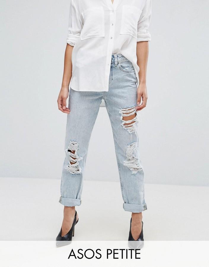 AsosASOS Petite ASOS PETITE Original Mom Jeans in Missouri with Rips