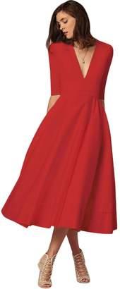 FYMNSI Women Deep V Neck Half Sleeve Cocktail Midi Dress Elegant Wedding Formal A-Line Evening Dance Party Gown L