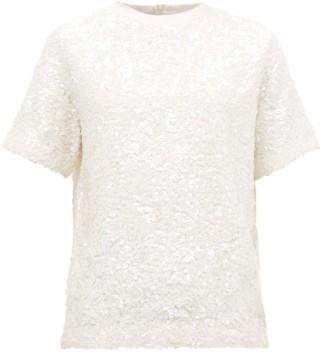 Ashish Hand Sequinned Cotton T Shirt - Womens - White