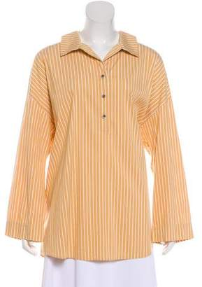 Lafayette 148 Striped Long Sleeve Button-Up Blouse