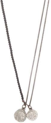 M. Cohen Hematite Bead And Coin Pendant Silver Necklace - Mens - Silver Multi