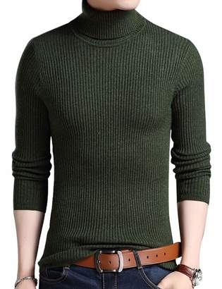 Zoulee Mens Long Sleeve Knitted Turtleneck Slim Fit Pullover Thermal Sweaters XL