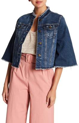Rachel Roy Cropped Bell Sleeve Denim Jacket