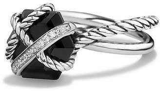 David Yurman Petite Cable Wrap Ring with Black Onyx and Diamonds