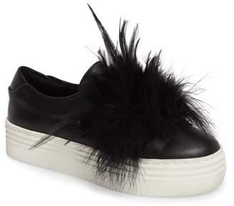 Here \u002F Now Lily Feather Pom Slip-On Platform Sneaker