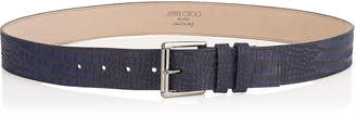Jimmy Choo ARCHER Uniform Blue Croc Printed Nubuck Belt
