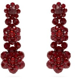 Simone Rocha Floral Beaded Drop Earrings - Womens - Burgundy