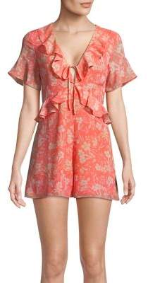 Highline Collective Floral Ruffle-Front Romper