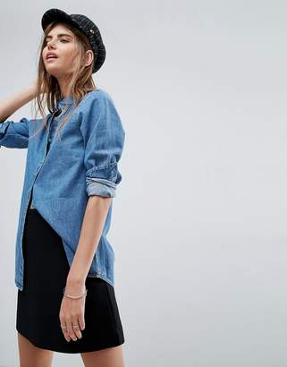 Asos Design DESIGN denim shirt in midwash blue