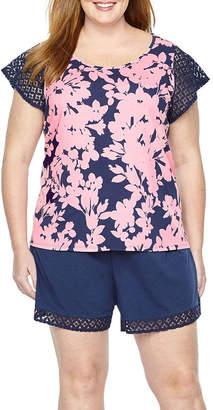 Liz Claiborne Lace Trim Shorts Pajama Set-Plus