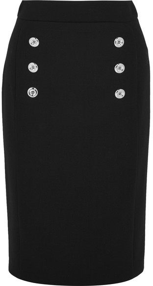 Michael Kors Collection - Button-detailed Wool-twill Pencil Skirt - Black