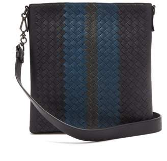 Bottega Veneta Striped Intrecciato Leather Messenger Bag - Mens - Grey Multi