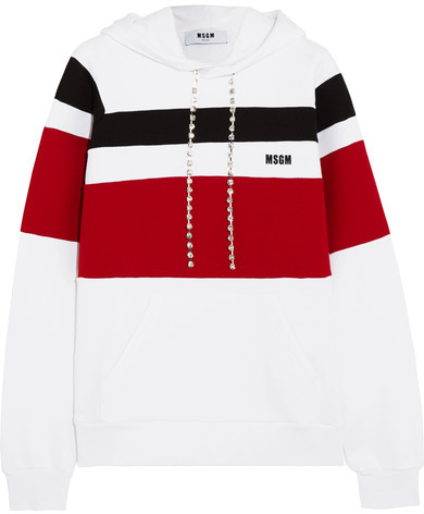 MSGM - Crystal-embellished Striped Jersey Hooded Top - White