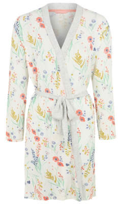 George Cream Floral Jersey Wrap Dressing Gown