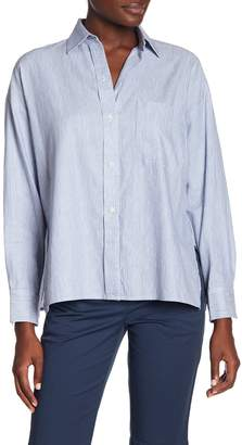 Vince Crop Striped Linen Blend Shirt