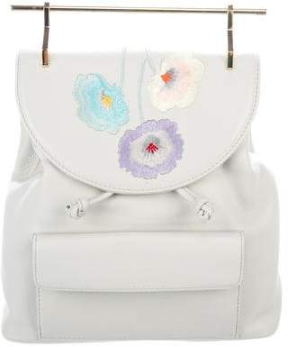 M2Malletier Floral Embroidered Leather Backpack
