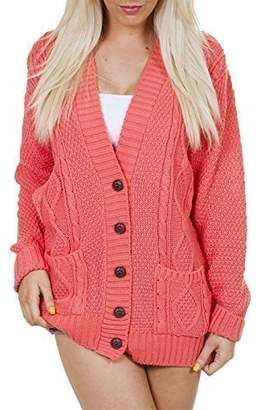 Purple Hanger Women's Long Sleeve Cable Knit Chunky Cardigan 4-6
