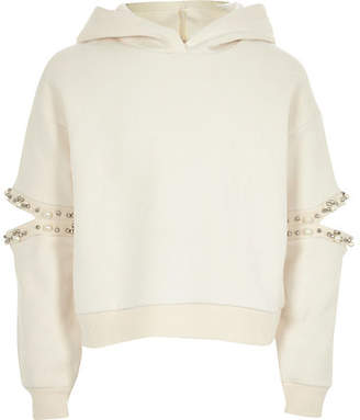 River Island Girls Cream pearl split sleeve hoodie
