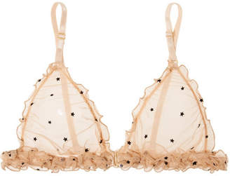 BEIGE Le Petit Trou - Mathilde Ruffled Flocked Stretch-tulle Soft-cup Triangle Bra
