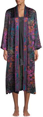 Josie Natori Nouveau Floral-Print Silk Long Duster Robe