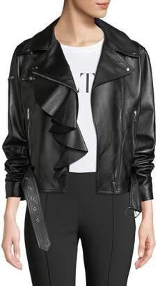 Valentino Napa Plonge Ruffle-Detail Leather Jacket w/ Love Story Heart on Sleeve