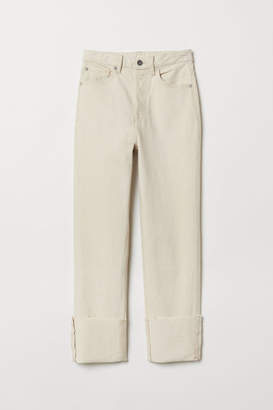 H&M Straight Loose Jeans - White