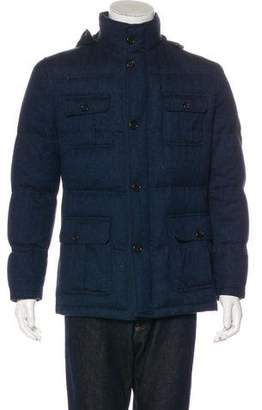 Kiton Lambskin Suede-Trimmed Cashmere Down Jacket