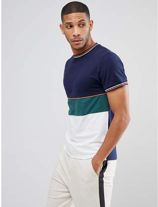 Bellfield T-Shirt In Color Block With Knitted Cuffs