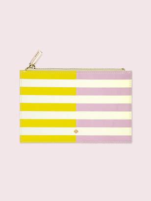 Kate Spade Two-tone Stripe Pencil Pouch, Bright Yellow