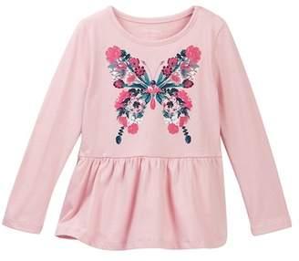 Joe Fresh Floral Print Peplum Shirt (Toddler & Little Girls)