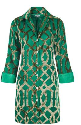 At Last... - Amanda Silk Velvet Shirt Green Trellis