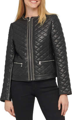 Karl Lagerfeld Paris Quilted Leather Jacket w/ Chain Detail