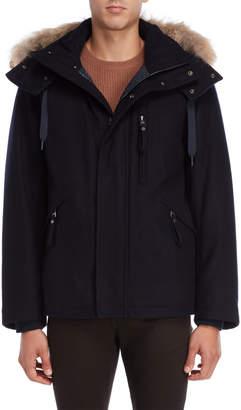 Andrew Marc Fremont Real Fur Trim Hooded Wool Coat
