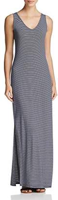 Three Dots Women's Feeder Stripe V Neck Maxi Dress