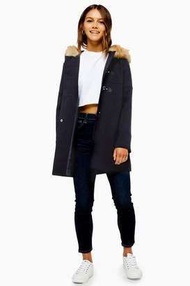 Topshop Womens Petite Navy Faux Fur Hooded Coat - Navy Blue