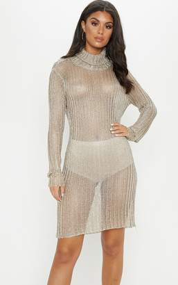 PrettyLittleThing Gold Roll Neck Metallic Knitted Dress