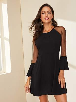 Shein Contrast Mesh Bell Sleeve Zip Back Dress